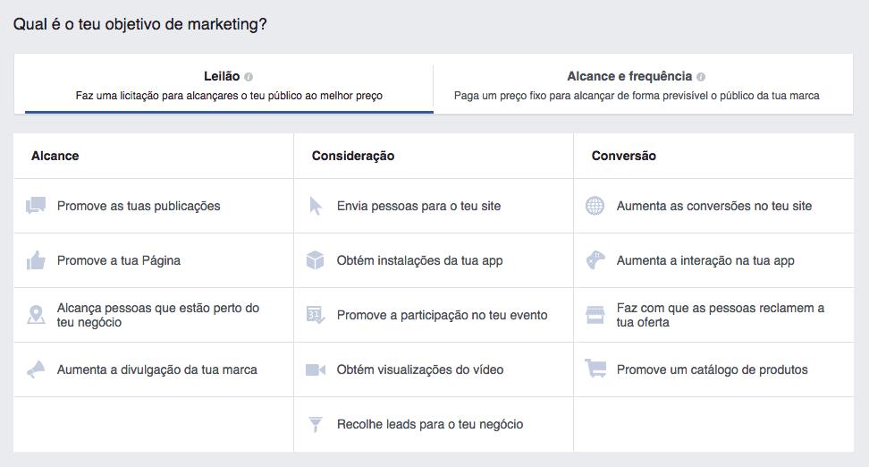 objetivos campanhas facebook