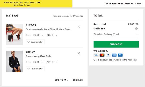 shopping cart asos.com