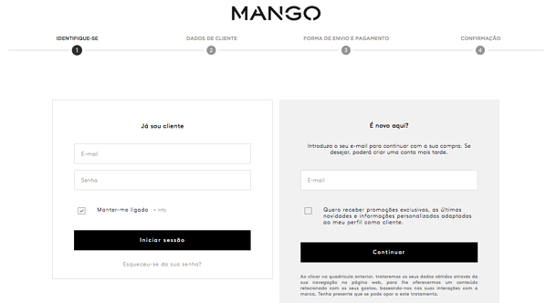 simple stepbystep checkout mango.pt